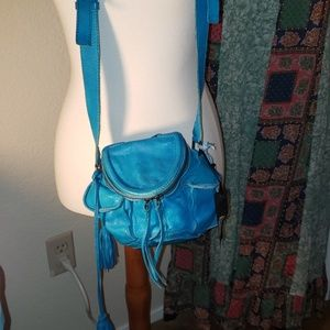 Latico cross body bag. Turquoise blue